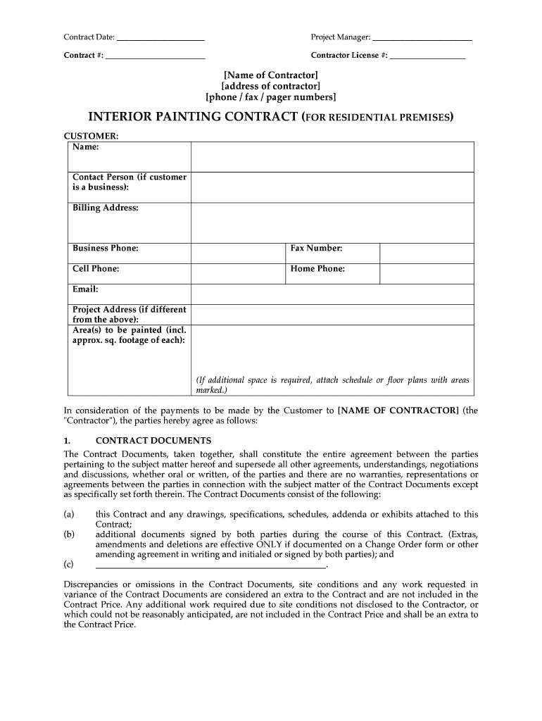 Painting Contractor Forms  Topa.mastersathletics.co inside Paint Proposal Template