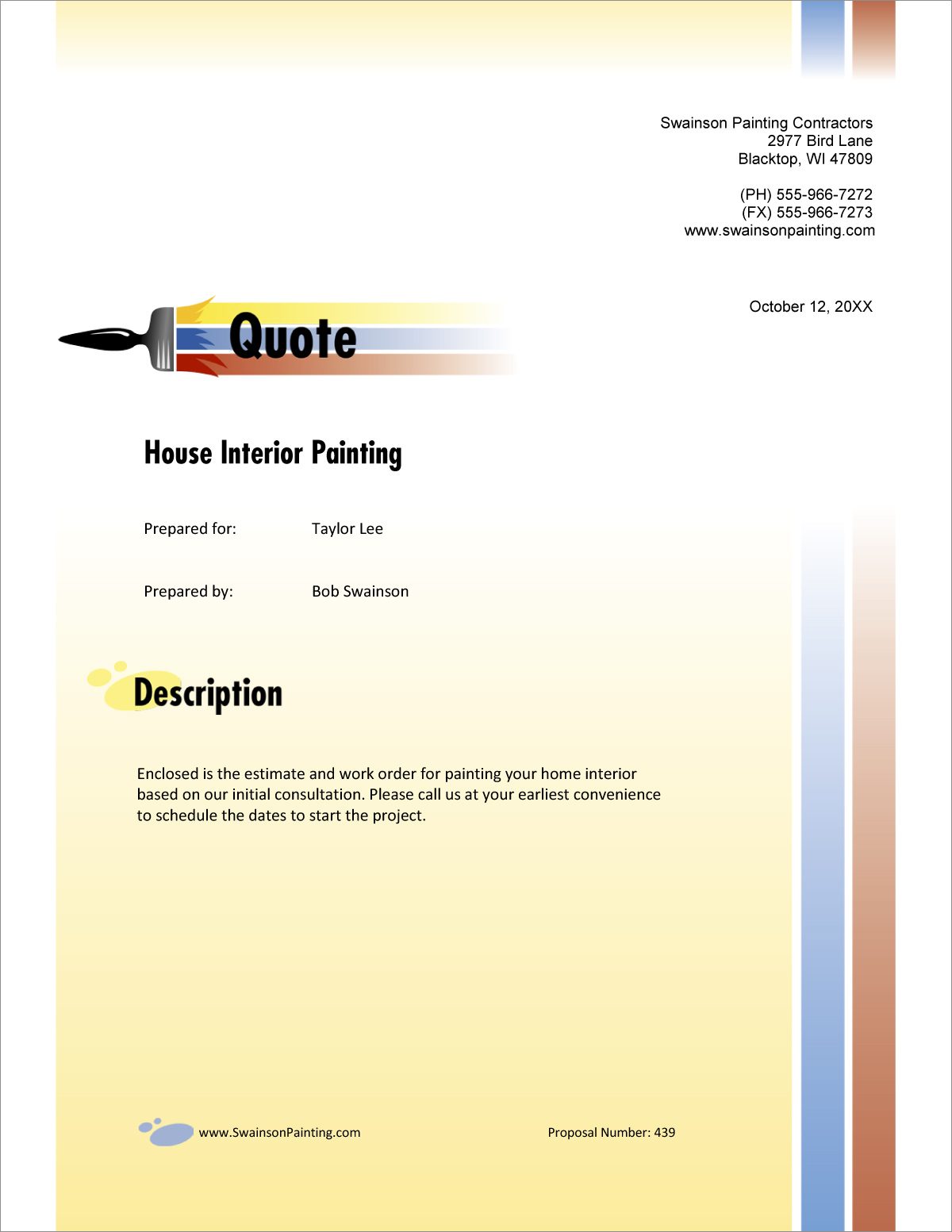 Painting Contractor Sample Proposal  5 Steps within Paint Proposal Template