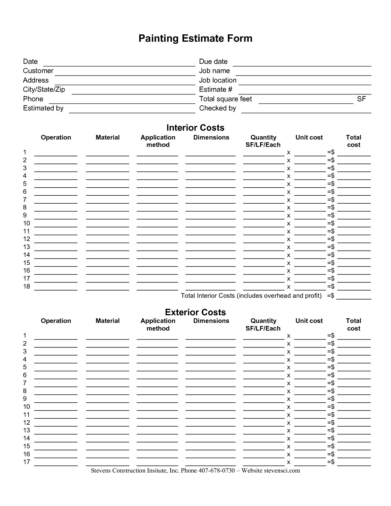 Painting Estimate Form Sample | Painting Estimate Sheet pertaining to Paint Proposal Template