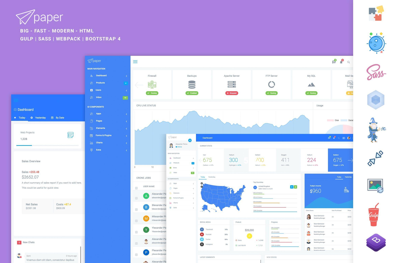 Paper Panel Bootstrap 4 Admin Dashboard Template #admin with regard to Bootstrap Calendar Icon