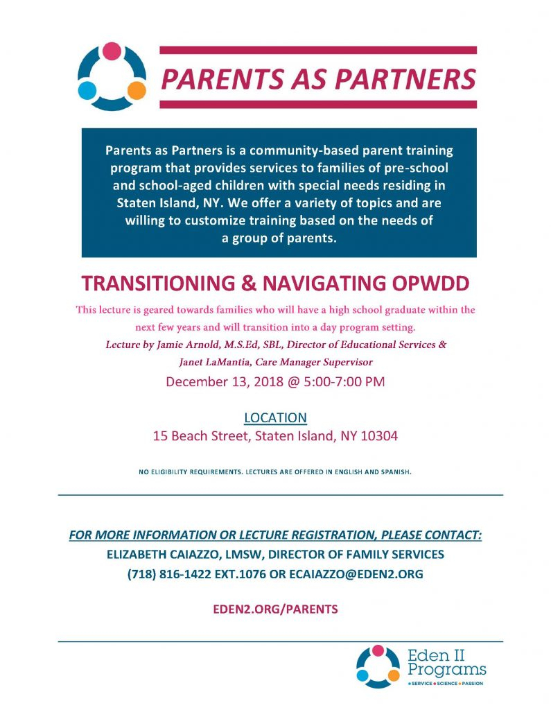 Parents As Partners – Eden Ii Programs inside Eden 2 School