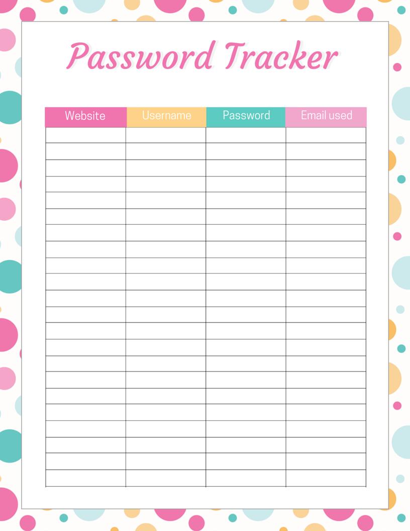 Password Tracker Free Printable | Password Printable pertaining to Free Printable Password Sheet