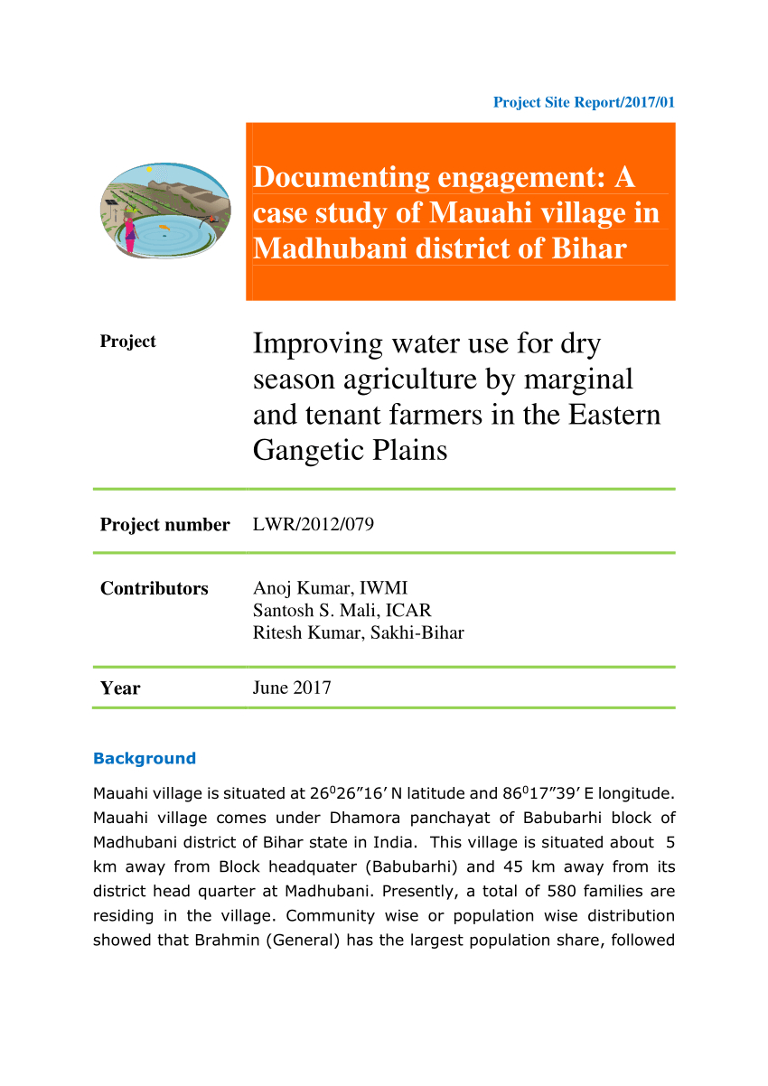 Pdf) Documenting Engagement: A Case Study Of Mauahi Village pertaining to Bihar Sarkar Calendar 2017