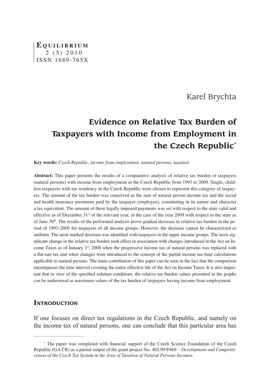 Pdf) Evidence On Relative Tax Burden Of Taxpayers With for Kate Is An Accrual Basis Calendar-Year Taxpayer
