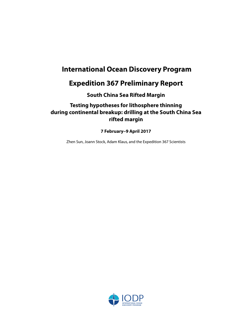 Pdf) International Ocean Discovery Program Expedition 367 intended for Offshore Rotation Calendar Excel