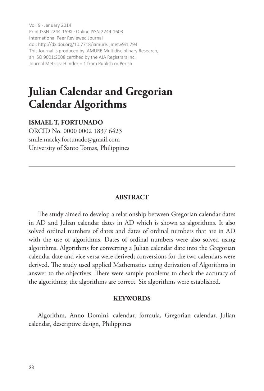 Pdf) Julian Calendar And Gregorian Calendar Algorithms throughout Julian Calendar Pdf