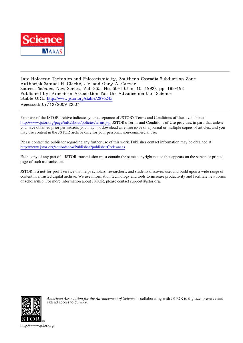 Pdf) Late Holocene Tectonics And Paleoseismicity, Southern in Cascadia Tech Academy Calendar
