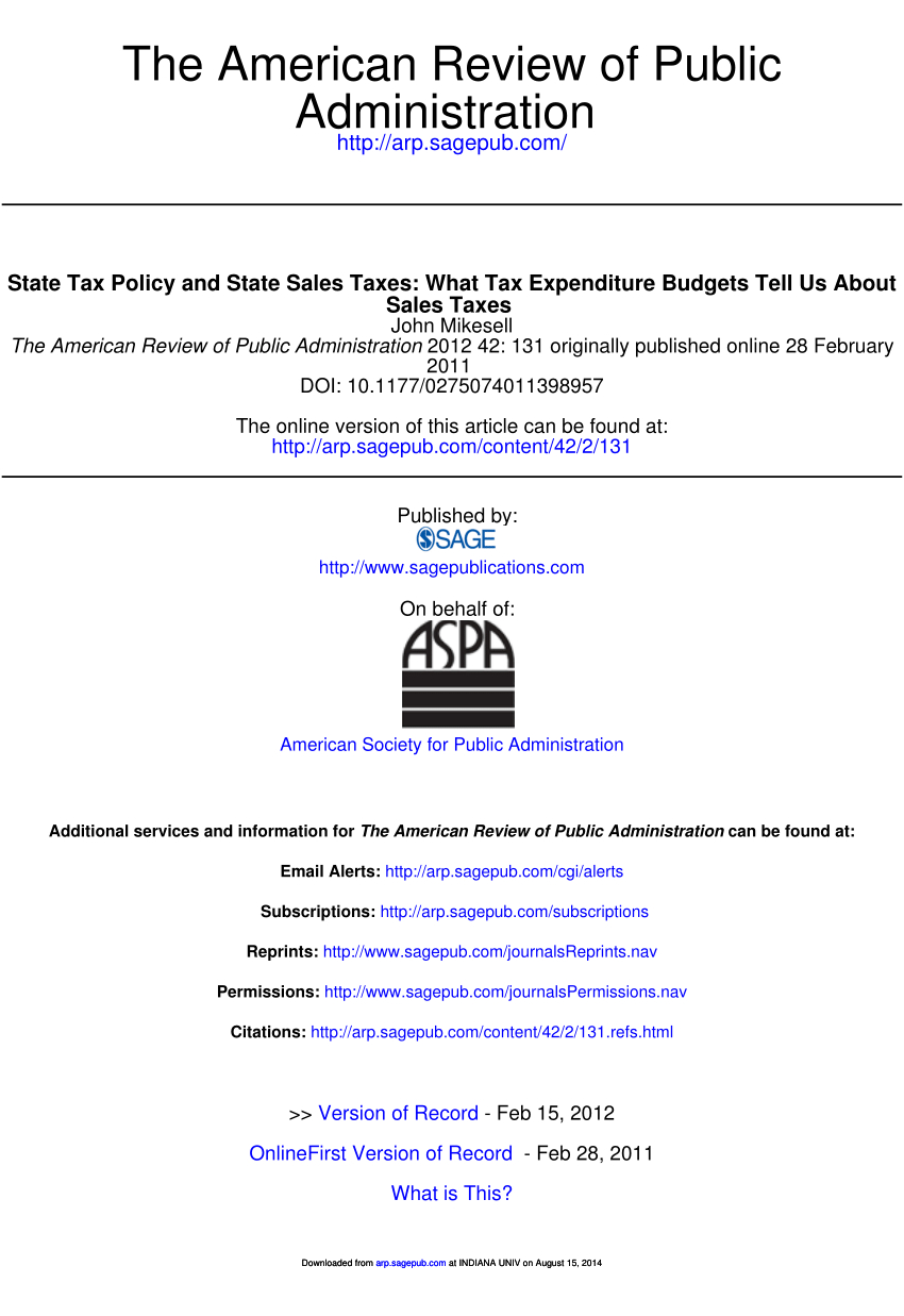 Pdf) State Tax Policy And State Sales Taxes: What Tax throughout Reese A Calendar Year Taxpayer