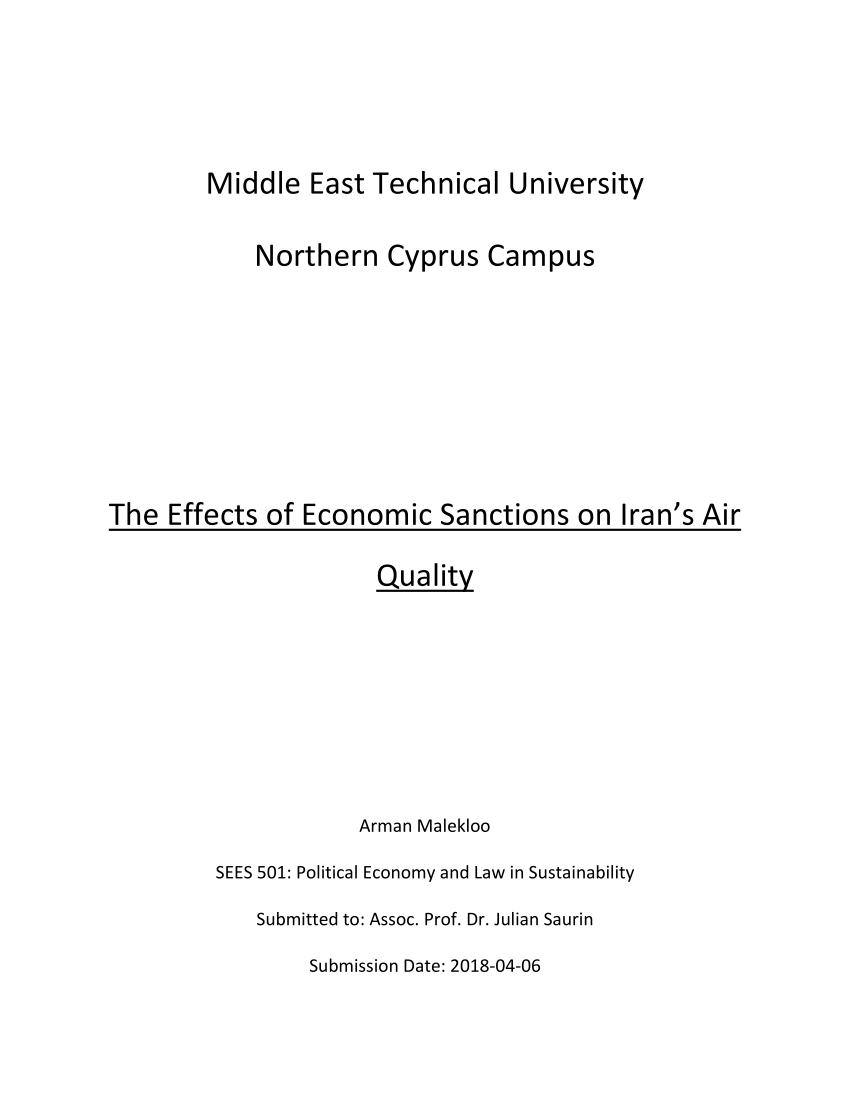 Pdf) The Effects Of Economic Sanctions On Iran's Air Quality with regard to Today's Julian Date 2018