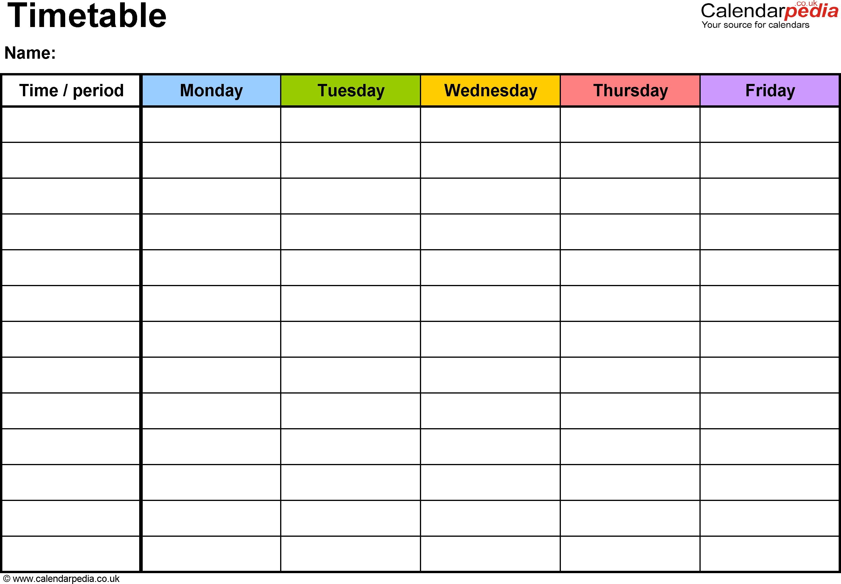 Pdf Timetable Template 2: Landscape Format, A4, 1 Page with 5 Day Weekly Planner Template