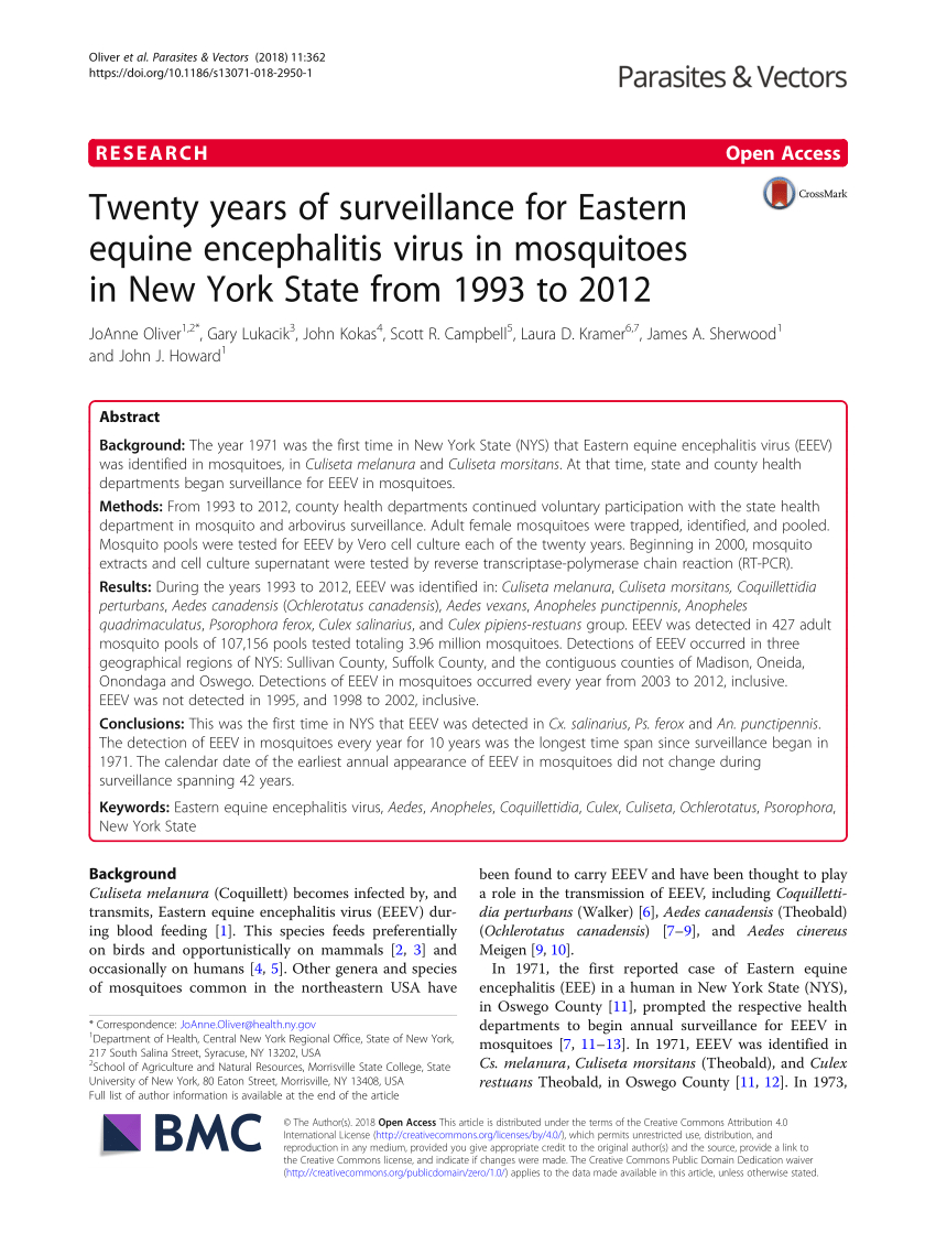 Pdf) Twenty Years Of Surveillance For Eastern Equine intended for J Hampton Moore School Calendar