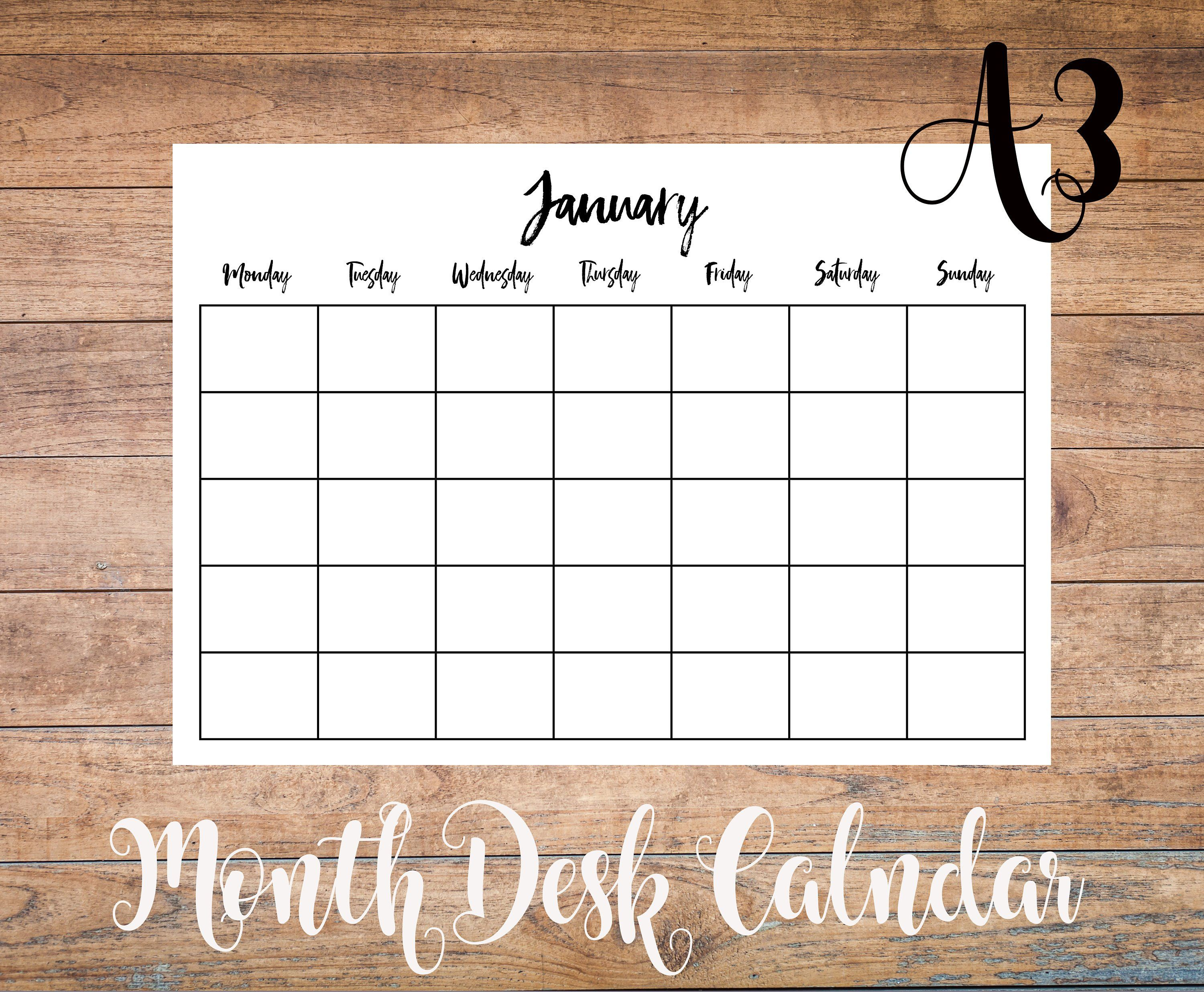 Perpetual A3 Monthly Calendar Printable Undated Desk Pad with Printable Perpetual Monthly Calendar