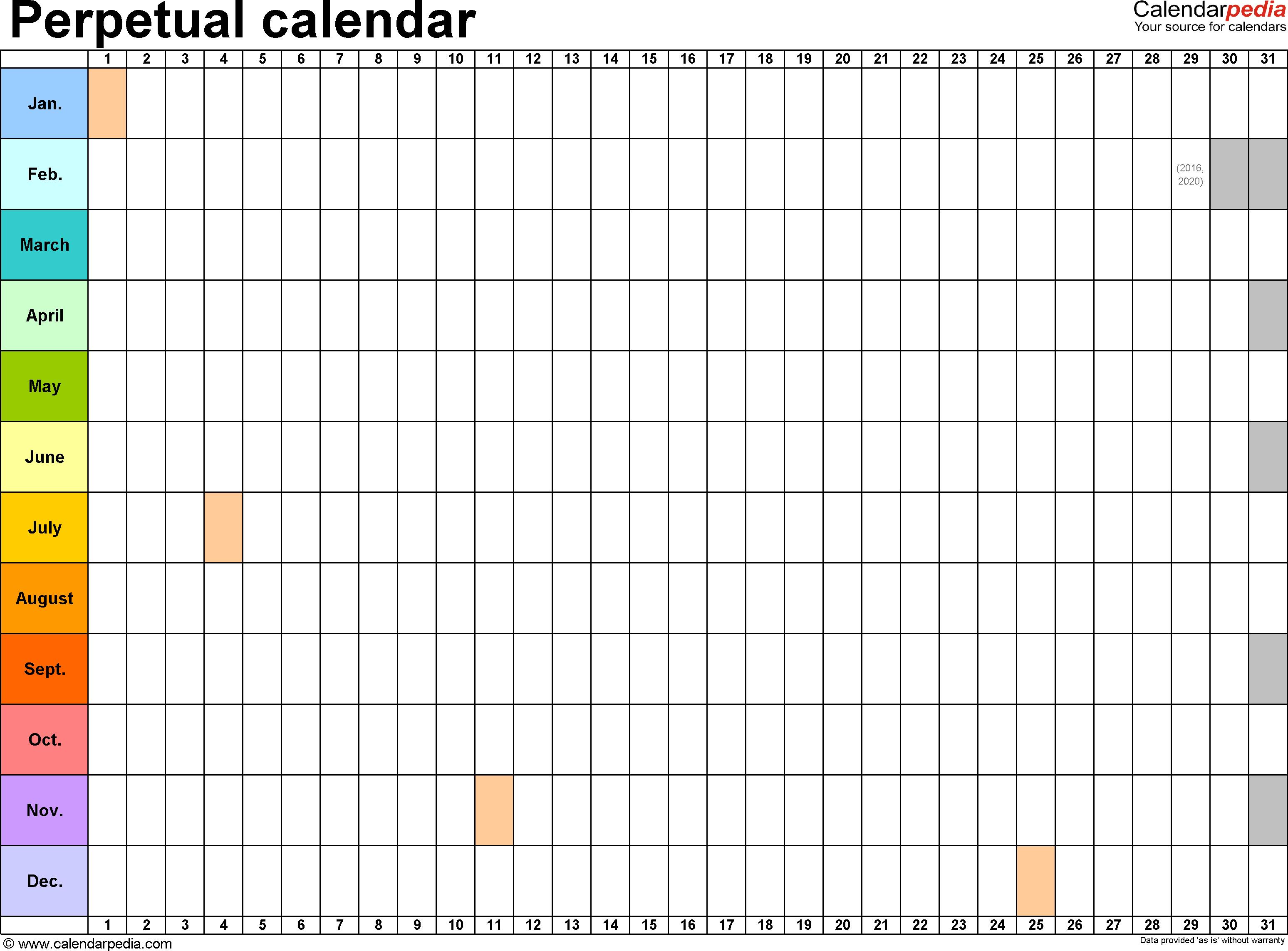 Perpetual Calendar Download Free | Calendar Templates In Excel regarding Perpetual Calendar Excel
