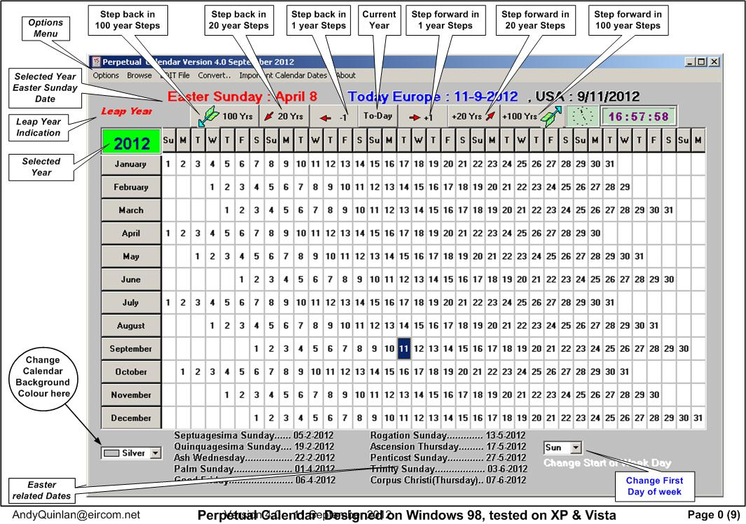 Perpetual Calendar  Gui2 Program 8.1 For Exiftool Version in Julian Date Calendar Perpetual