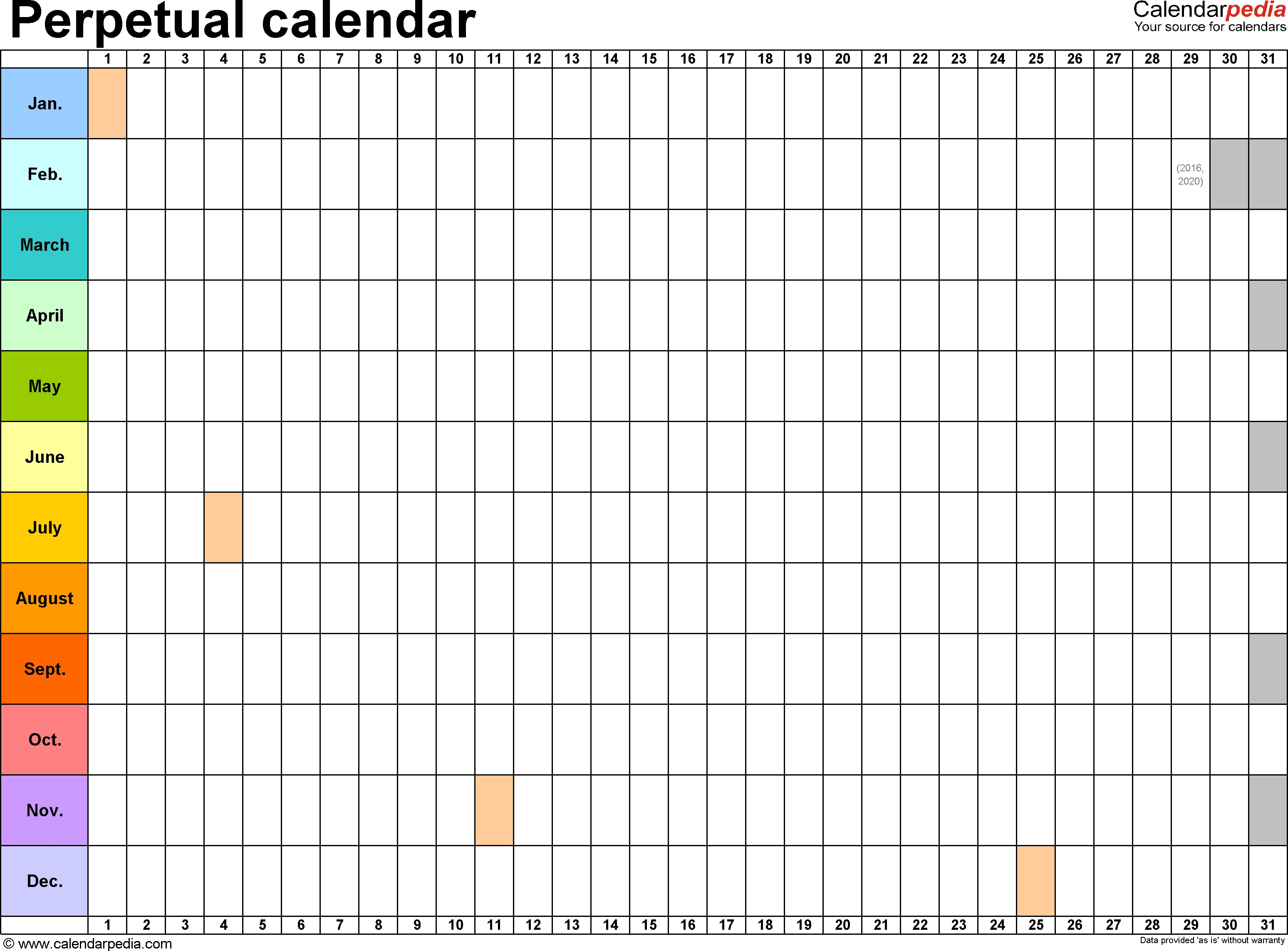 Perpetual Calendars – 7 Free Printable Excel Templates in Printable Perpetual Monthly Calendar