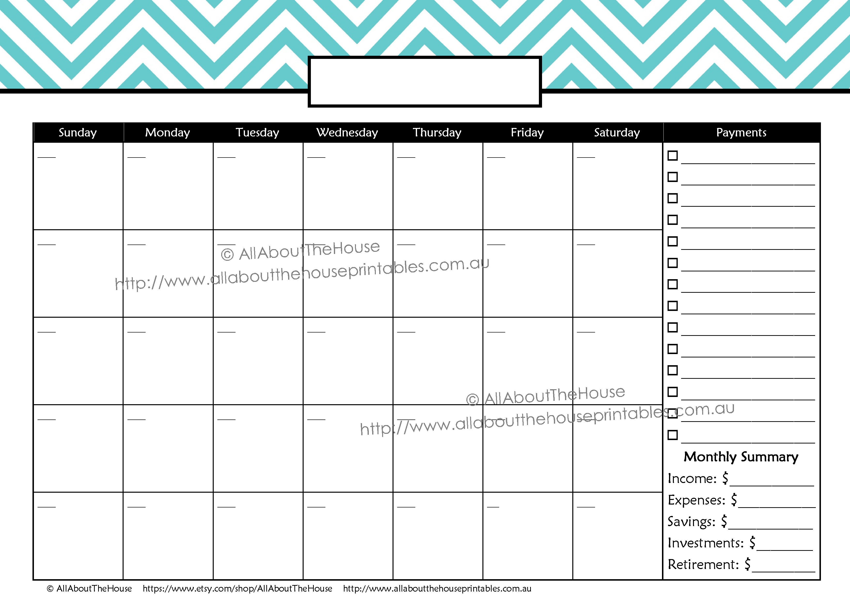Personalised Printable | Allaboutthehouse Printables for Printable Perpetual Monthly Calendar