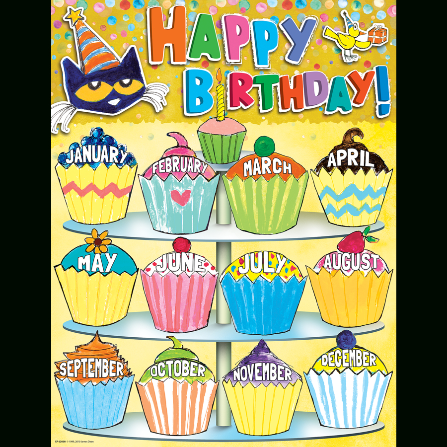 Pete The Cat Happy Birthday Chart regarding Cupcake Birthday Chart