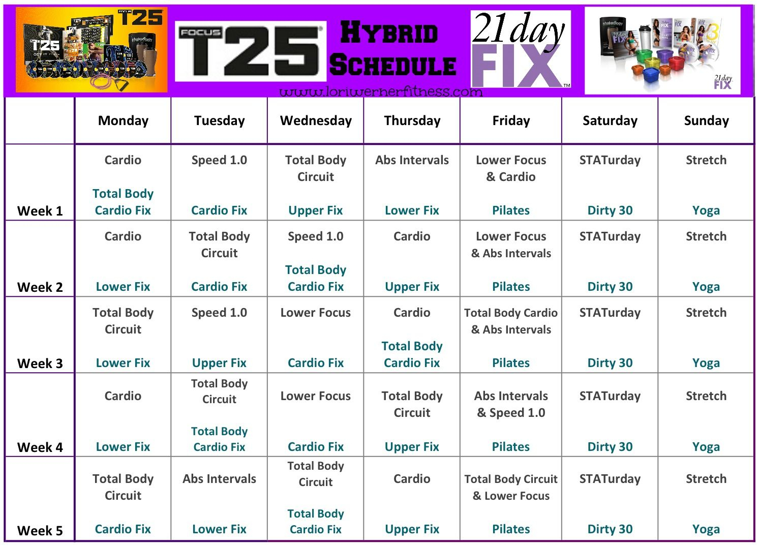 Pin By Cheryl Andrews On Getting Healthy | 21 Day Fix regarding 21 Day Fix Hybrid Calendar