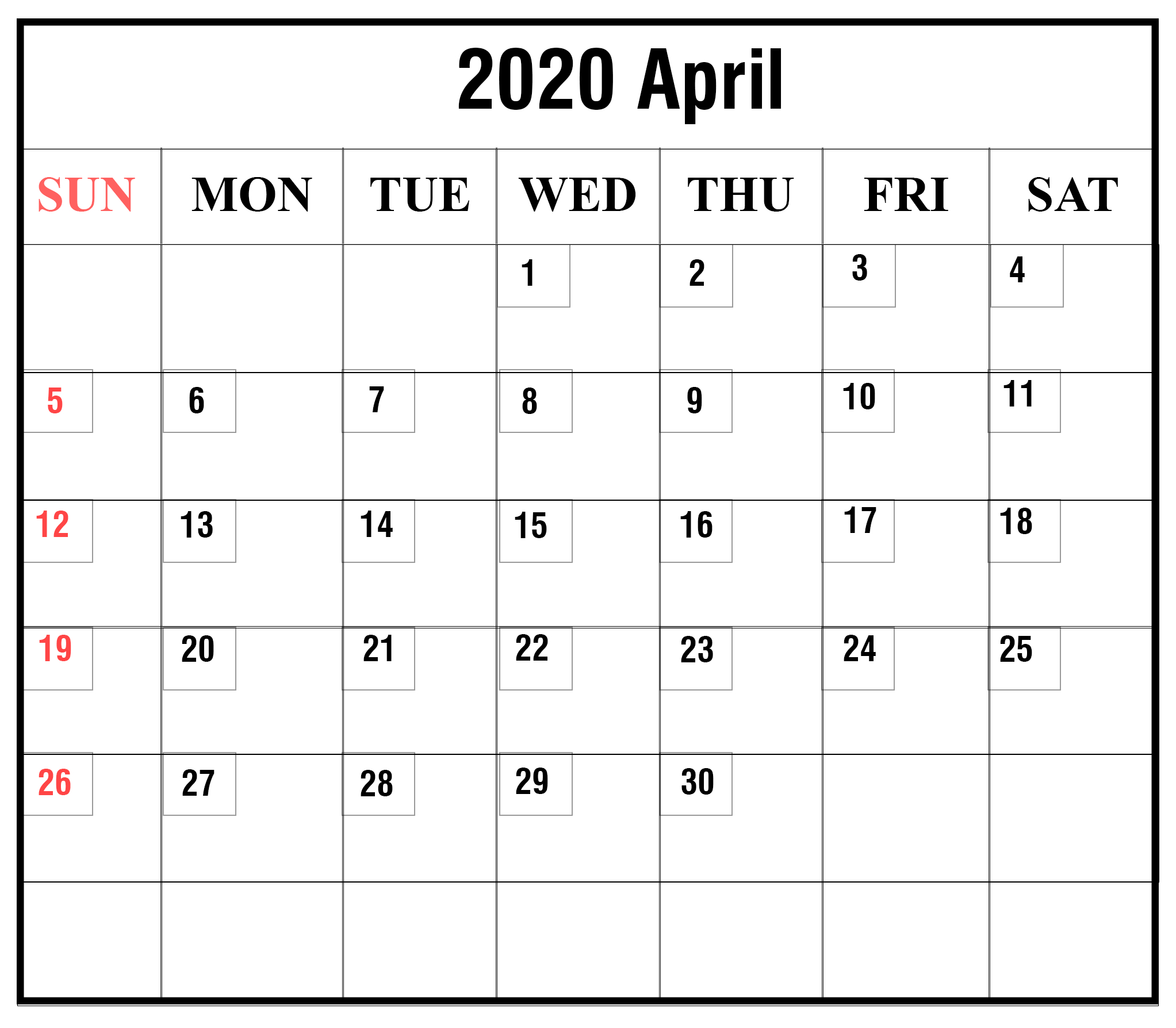 Pin On Free Monthly Calendar Templates with regard to Free Printable April 2020 Calendar