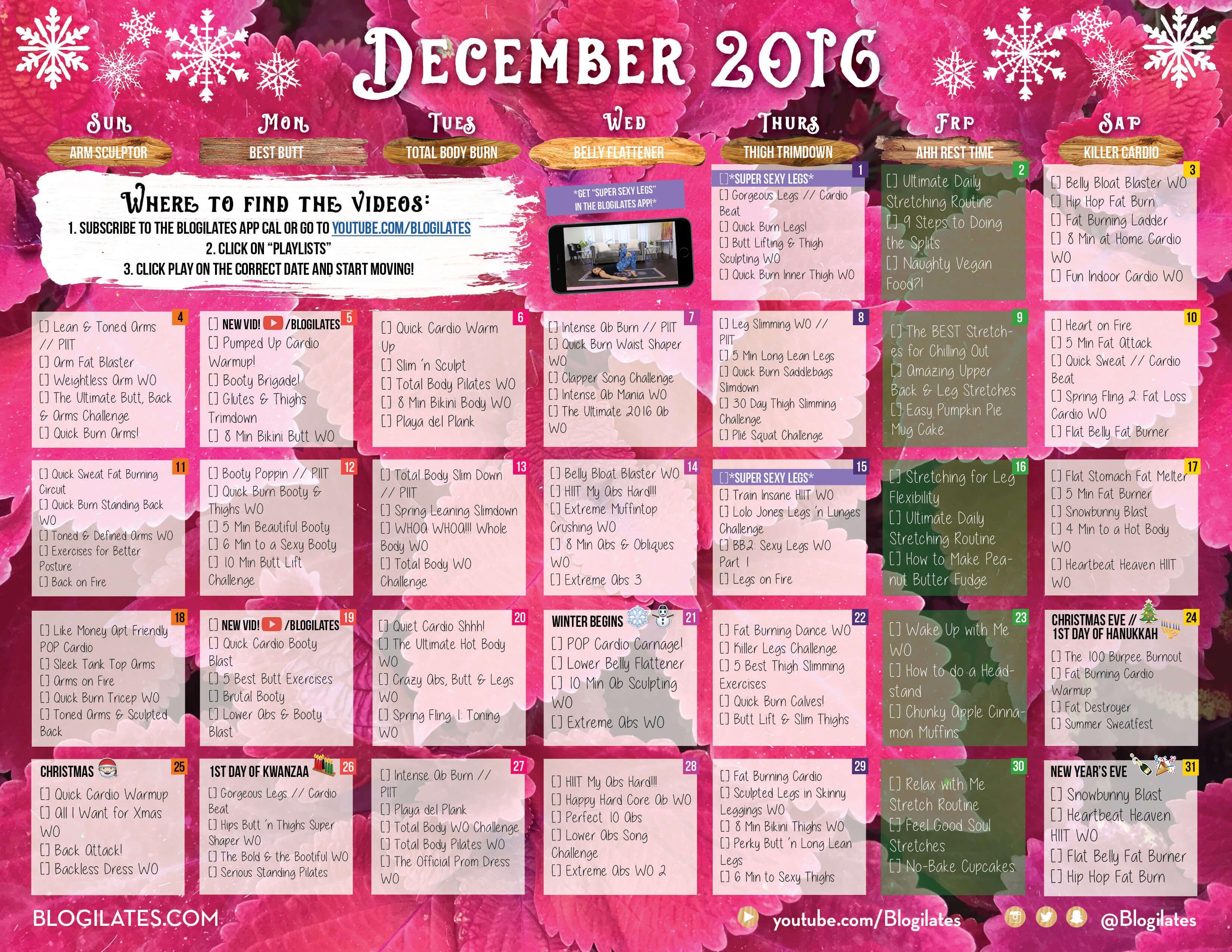 Pinterest for Blogilates December 2020 Calendar