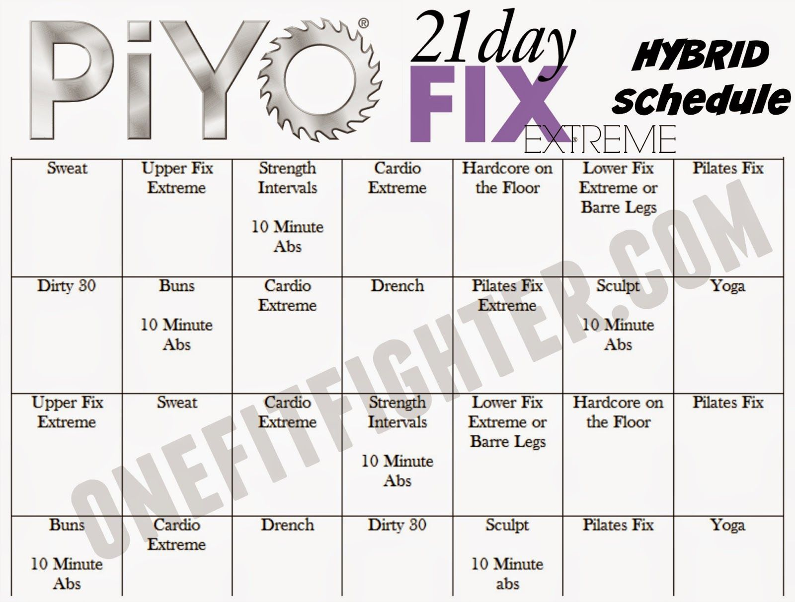Piyo & 21Dfx Hybrid Schedule regarding 21 Day Fix Piyo Hybrid