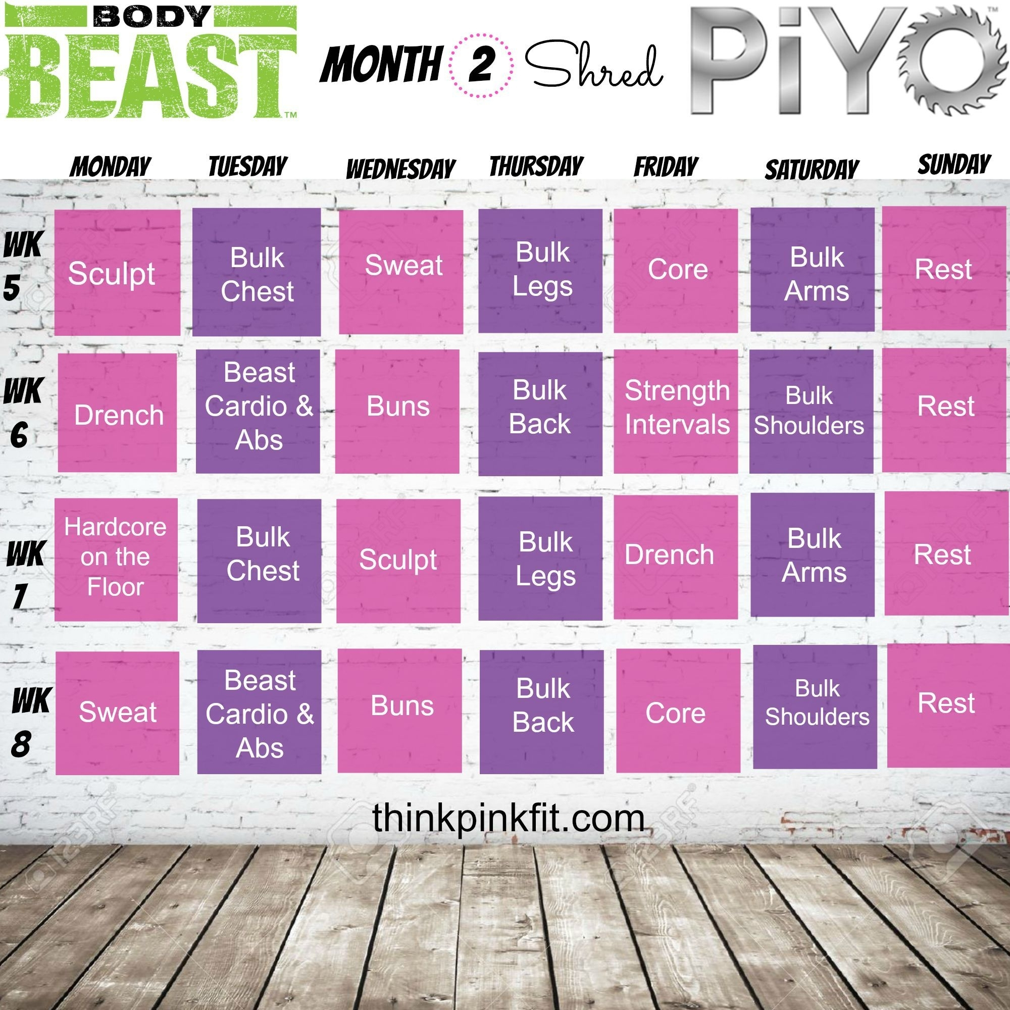 Piyo Monthly Schedule | Monthly Printable Calender intended for Body Beast Hybrid Calendar