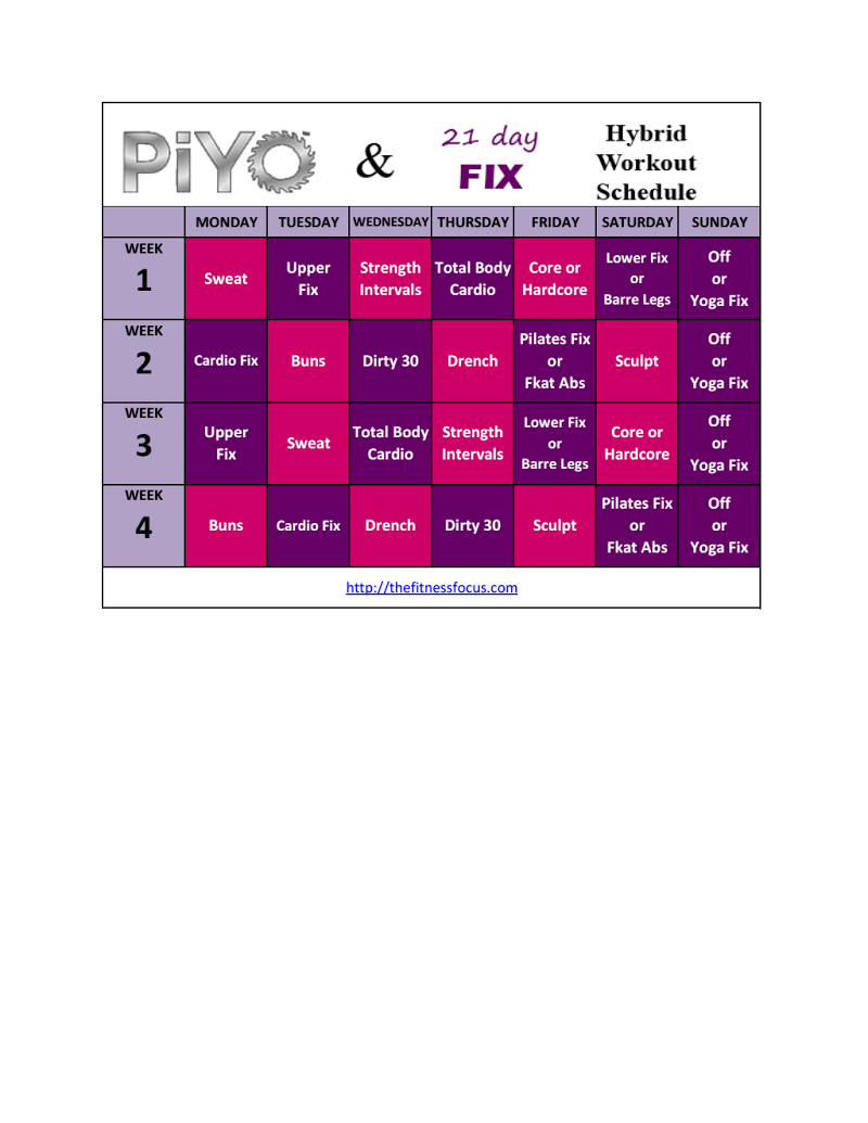 Piyo21Dayfixhybrid.pdf | Exercise | 21 Day Fix Workouts in 21 Day Fix Piyo Hybrid