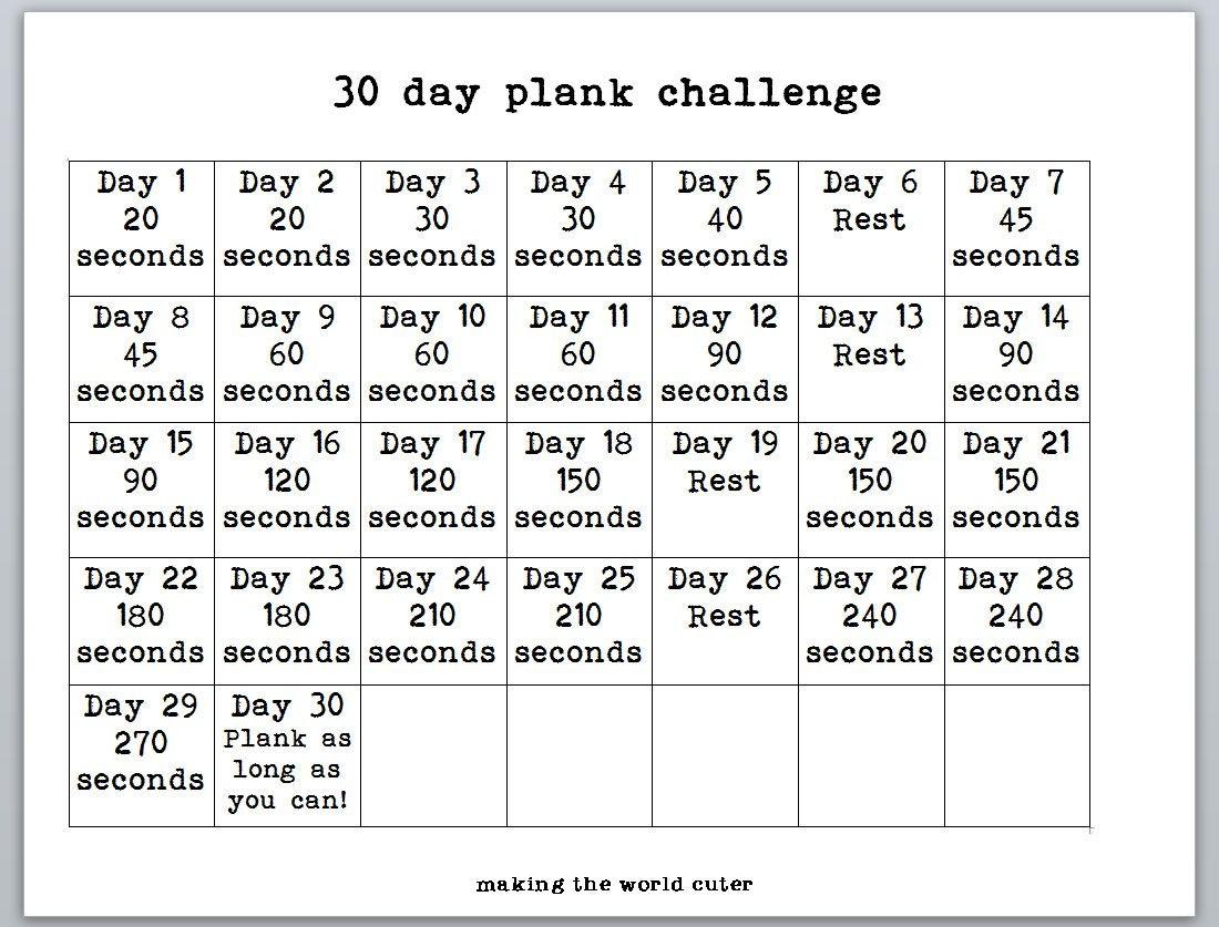 Plank Challenge Chart  Bobi.karikaturize regarding 30 Day Plank Challenge Printable