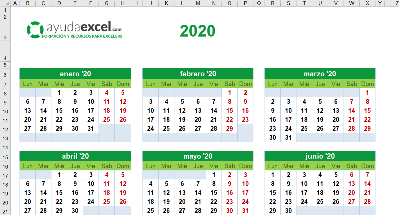 Plantillas Calendario En Excel 2020  Ayuda Excel pertaining to Calendario 2020 Con Semanas