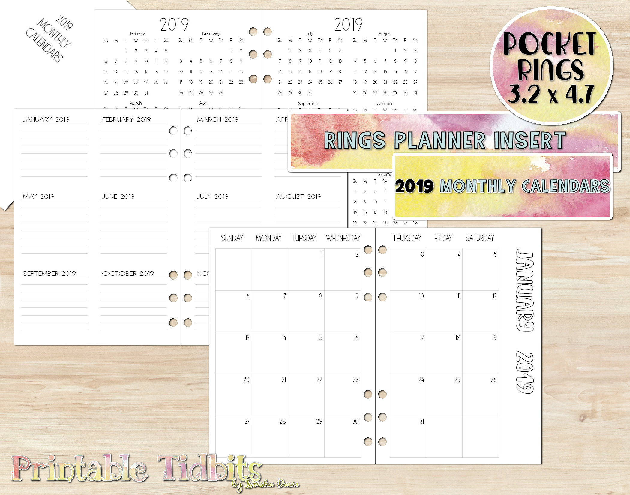 Pocket 2019 Planner Insert  2019 Calendar  Printable Pocket Planner Insert inside Printable Pocket Calendar