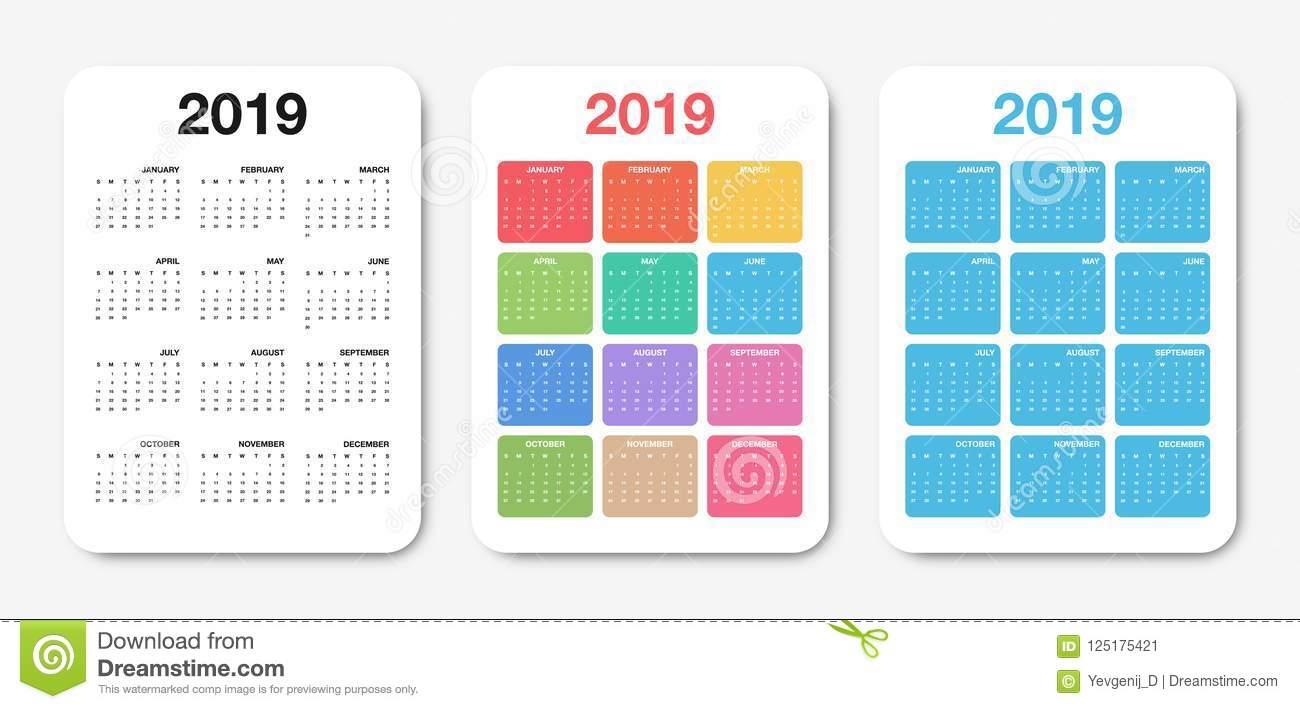 Pocket Calendar 2019 Template. Colorful Compact Calendar within Pocket Size Calendar Printable