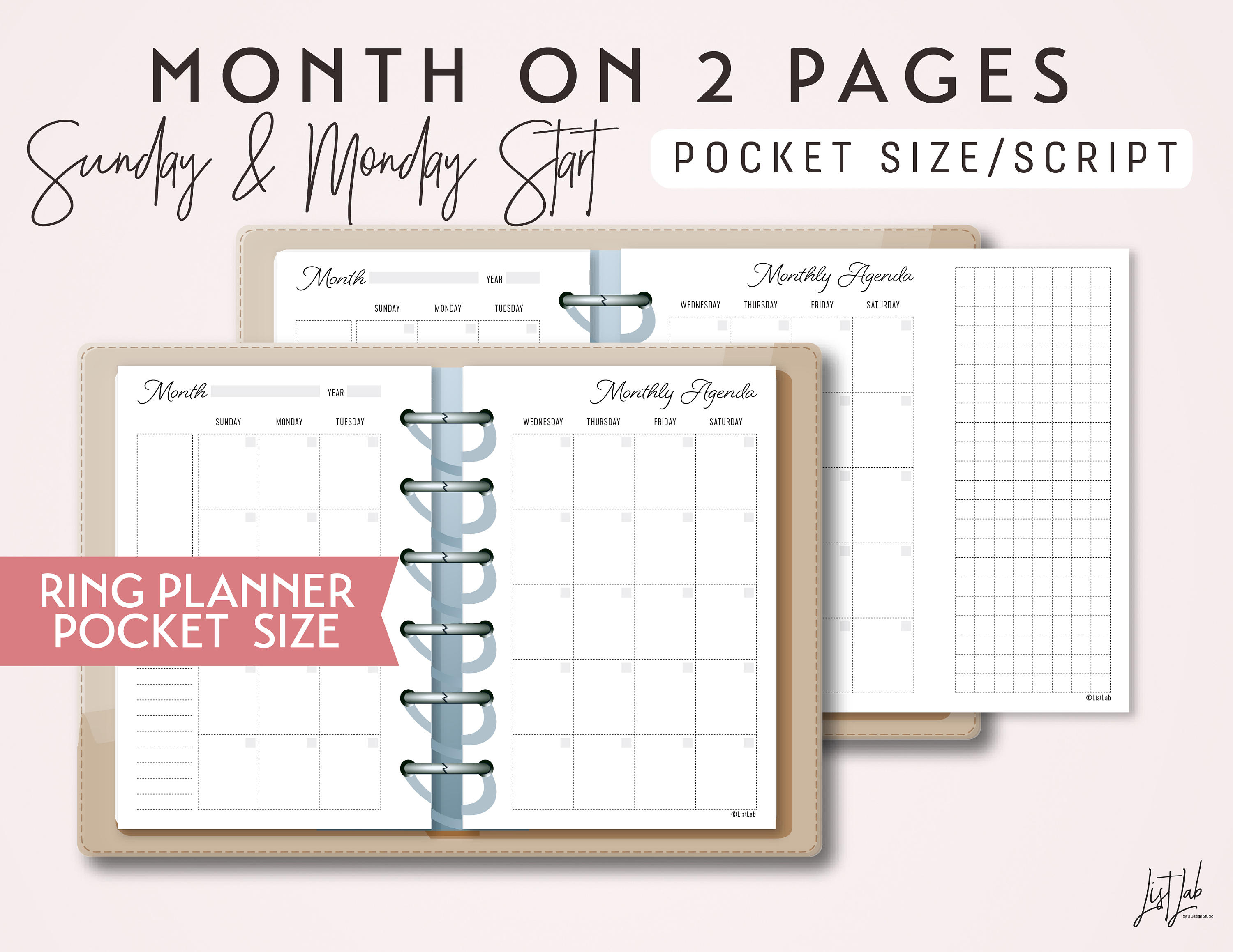 Pocket Size Month On 2 Pages Calendar  Printable Ring Planner Insert   Script Theme for Pocket Size Calendar Printable