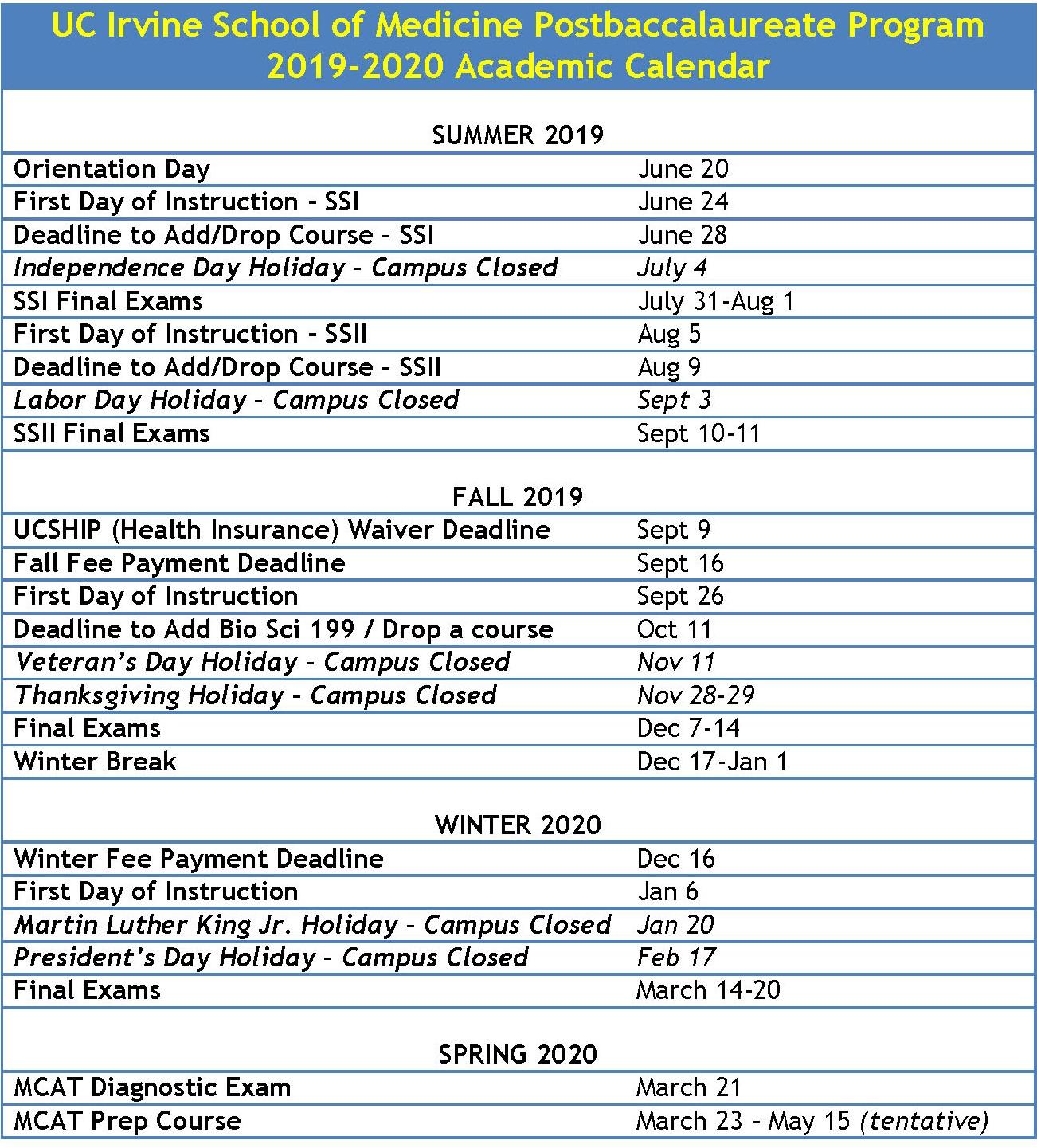 Postbaccalaureate Program | Medical Education | School Of within Uci Quarterly Calendar