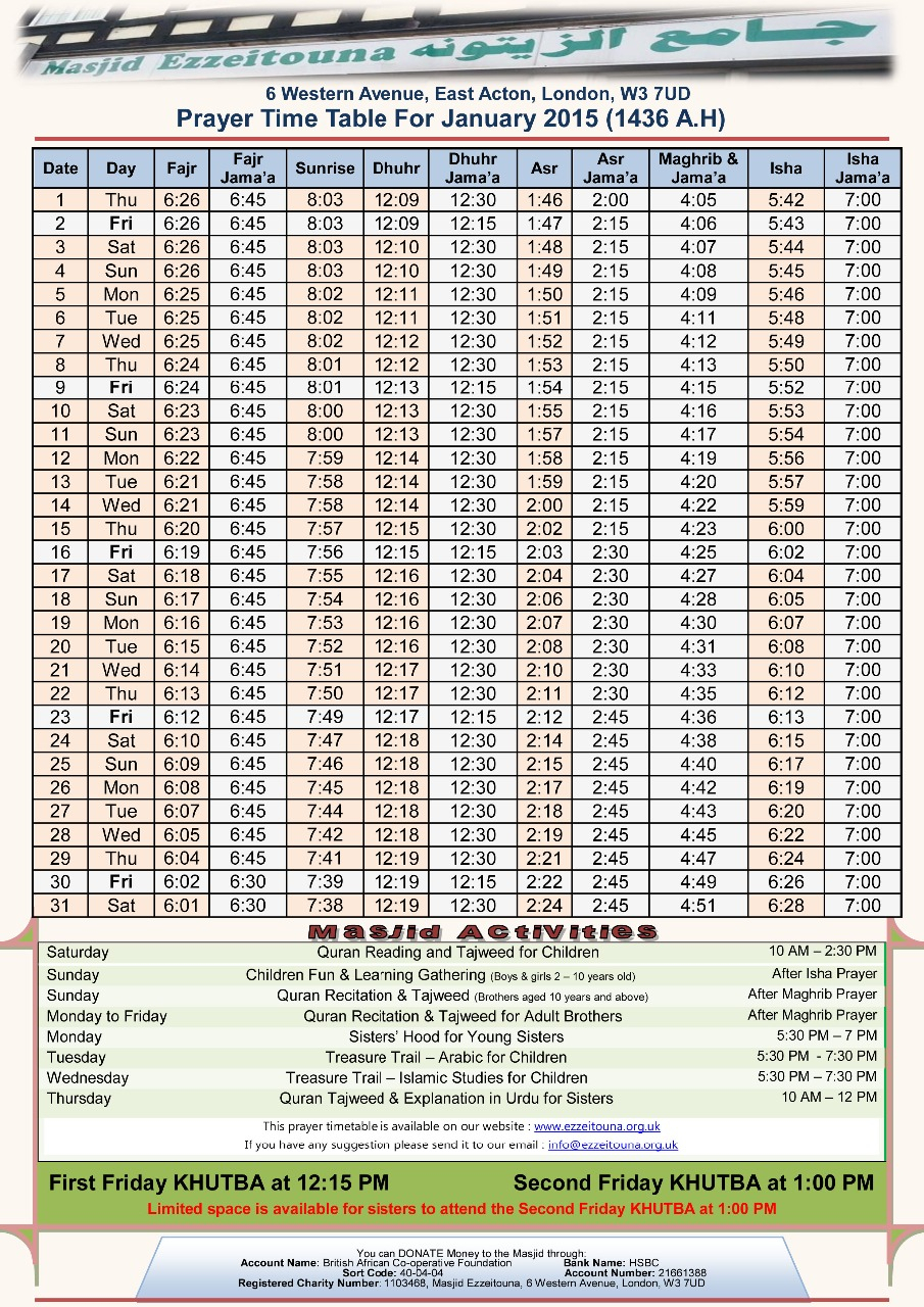 Prayer Times :: Masjid Ezzeitouna throughout Ramadan Time Table 2015