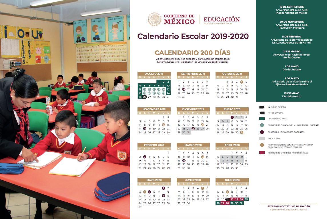 Presenta Sep Calendario Escolar 20192020; Abarca 190 Días within Sep Calendario 2020
