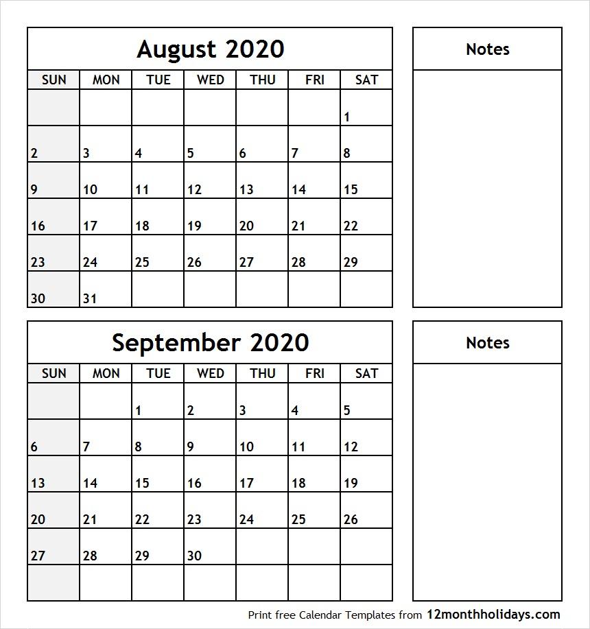 Print August September 2020 Calendar Template | 2 Month Calendar regarding August 2020 And September 2020 Calendar