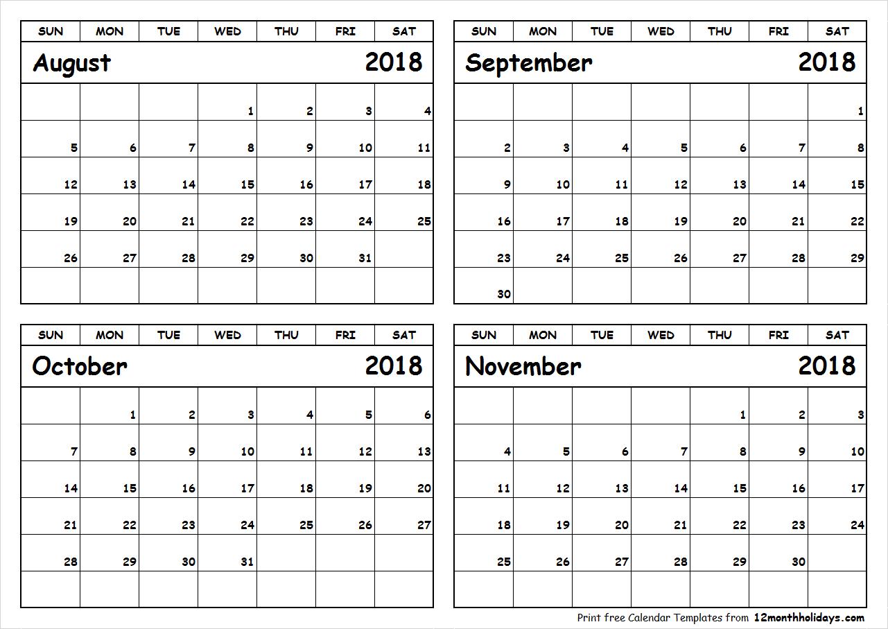 Print August To November 2018 Calendar Template | 4 Month inside 4 Month Calendar Template