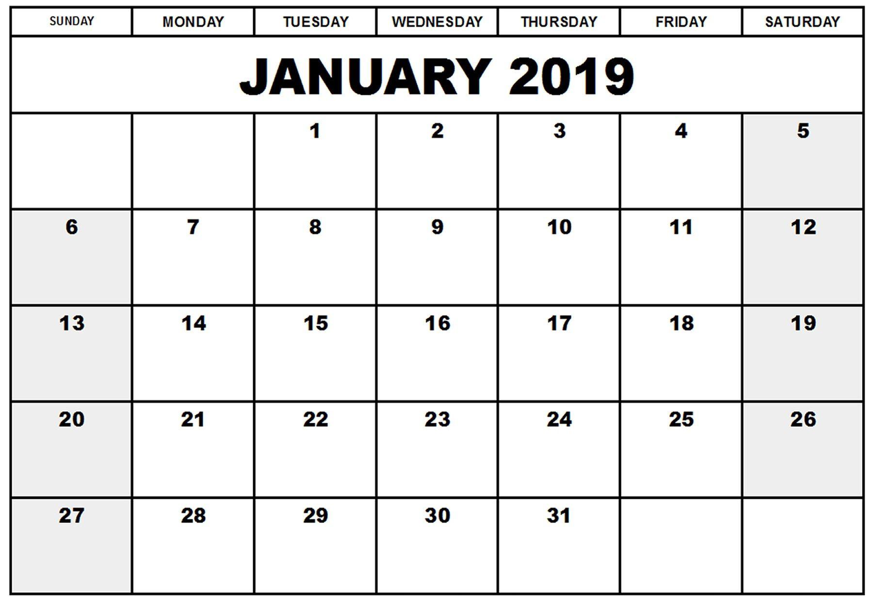 Print Blank Calendar 2019 Inspirational Blank Printable within Empty Printable Calendar