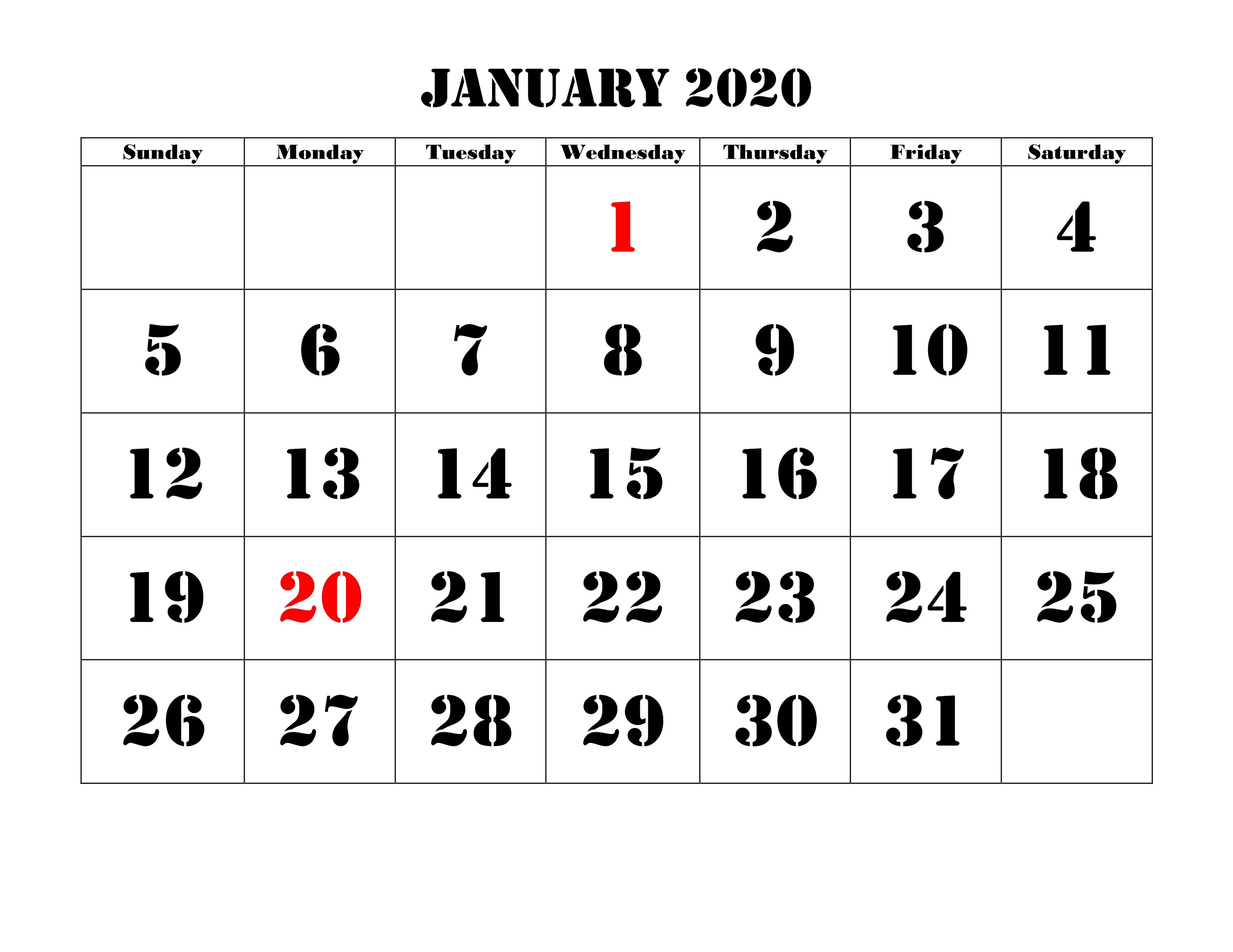 Print Blank Calendar 2020 Yearly And Monthly | Calendar Shelter with regard to Calendarpedia January 2020