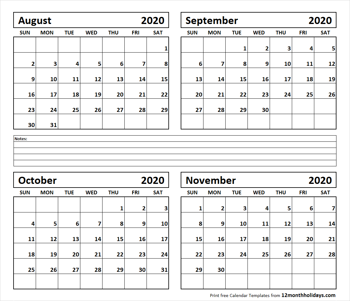 Print Four Month August September October November 2020 Calendar with regard to October & November 2020 Calendar