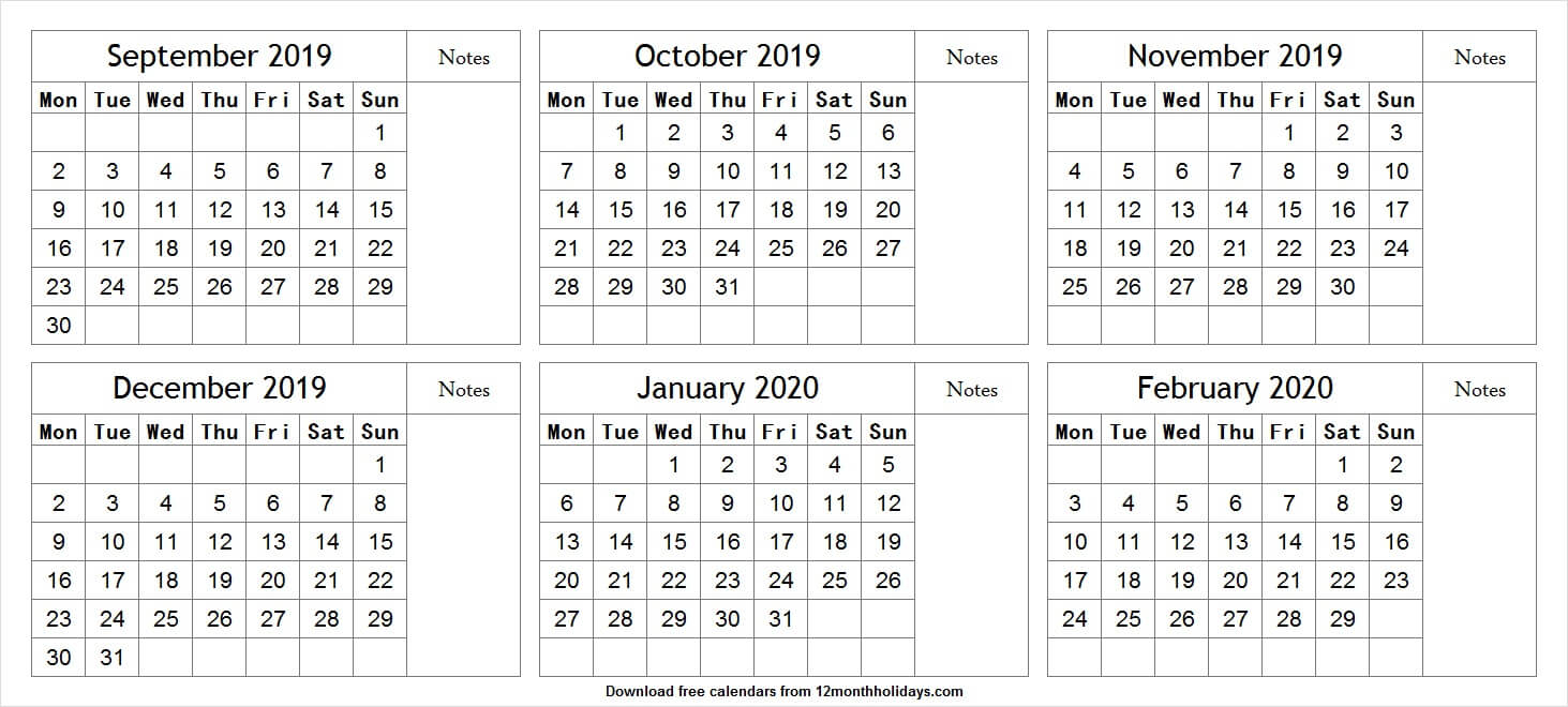 Print Free 6 Month Calendar September To February 2020 With for Free Printable 6 Month Calendar