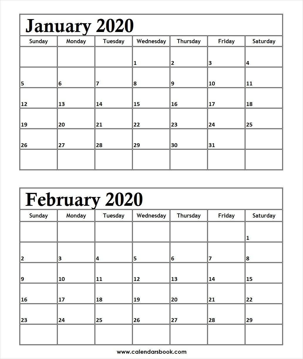 Print January February 2020 Calendar Template | 2 Month in Blank 2 Month Calendar