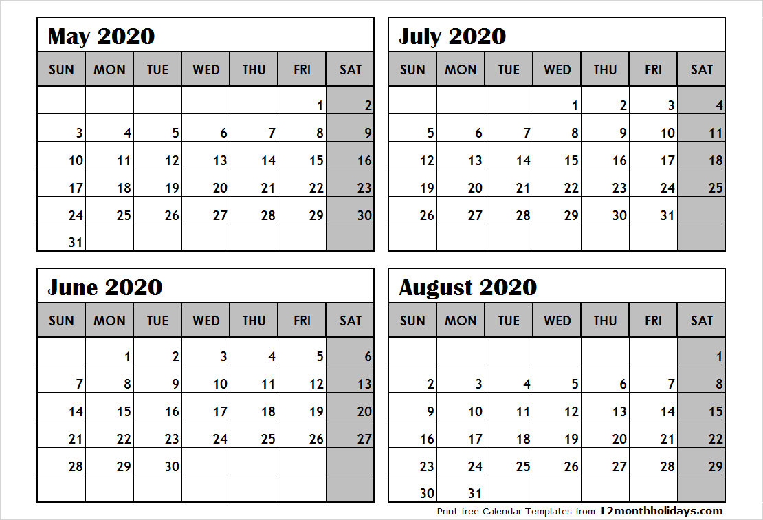 Print May To August 2020 Calendar Template | 4 Month Calendar for May June July August 2020 Calendar