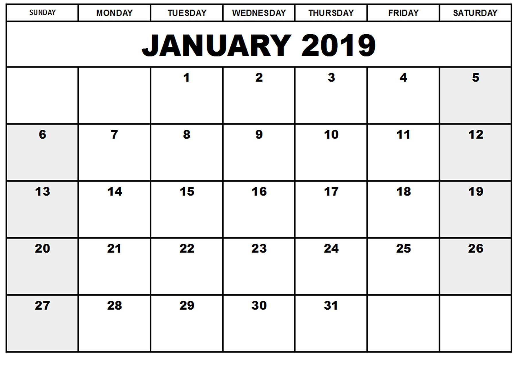 Print Online Calendar 2019 throughout January 2020 Waterproof Calendar