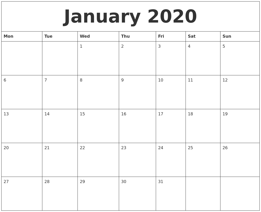 Print Online Calendar 2019 with Waterproof Calendar January 2020