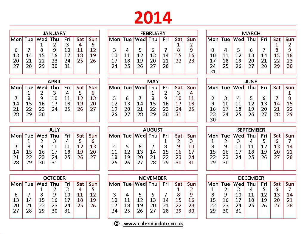 Printable 2014 Calendar | Calendardate.co.uk regarding Calendar 2014 Printable