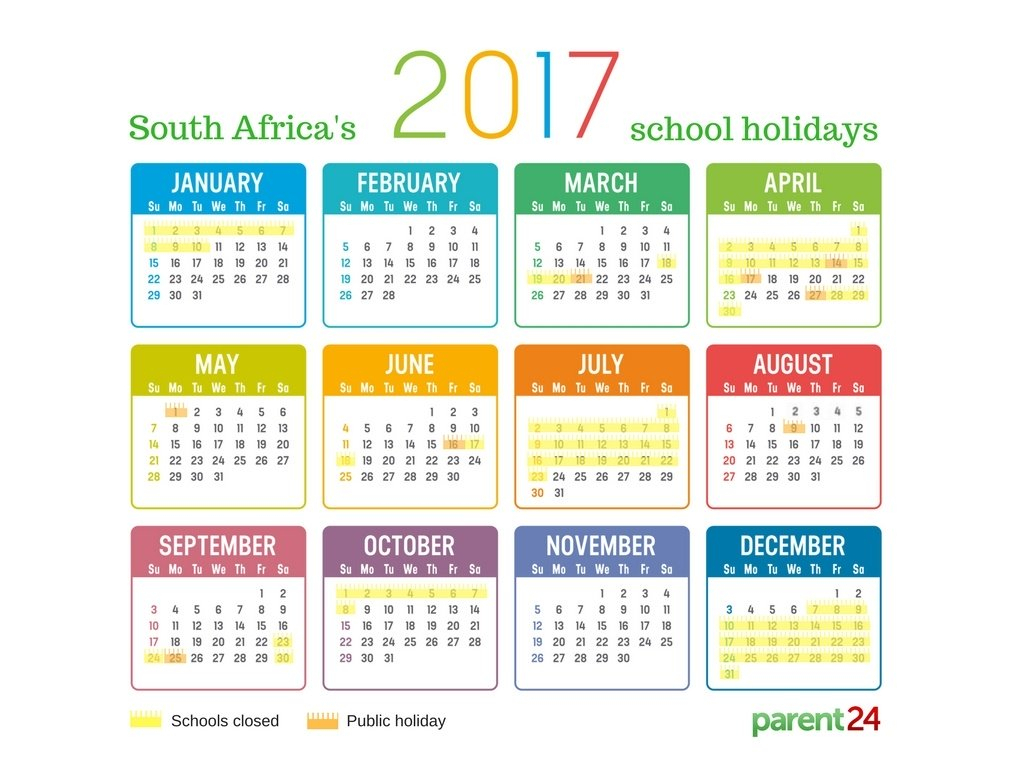 Printable: 2017 School Holidays In South Africa Calendar with Parent24 School Calendar 2020