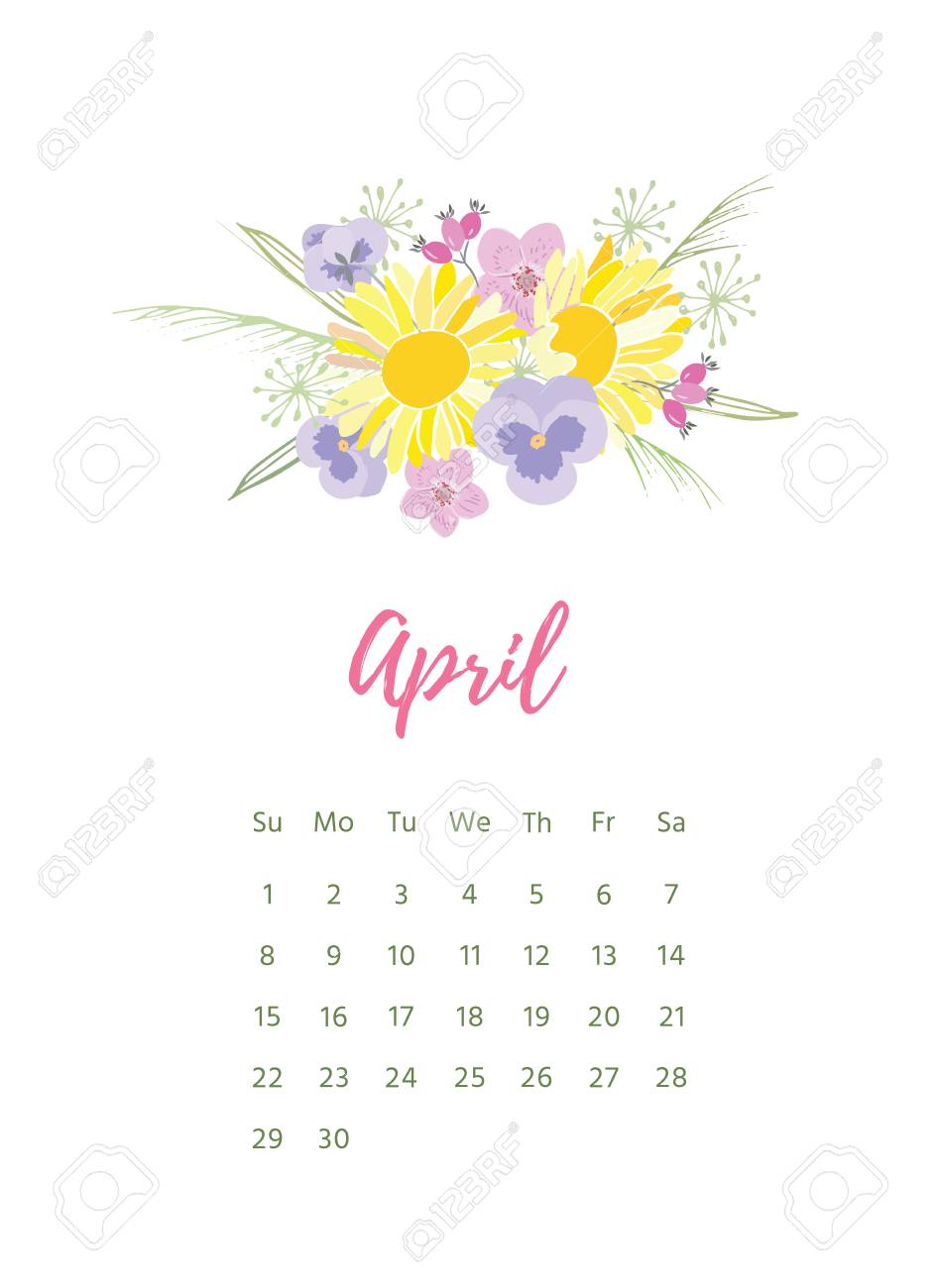 Printable 2018 Calendar With Pretty Colorful Flowers. pertaining to Pretty Printable Calendar