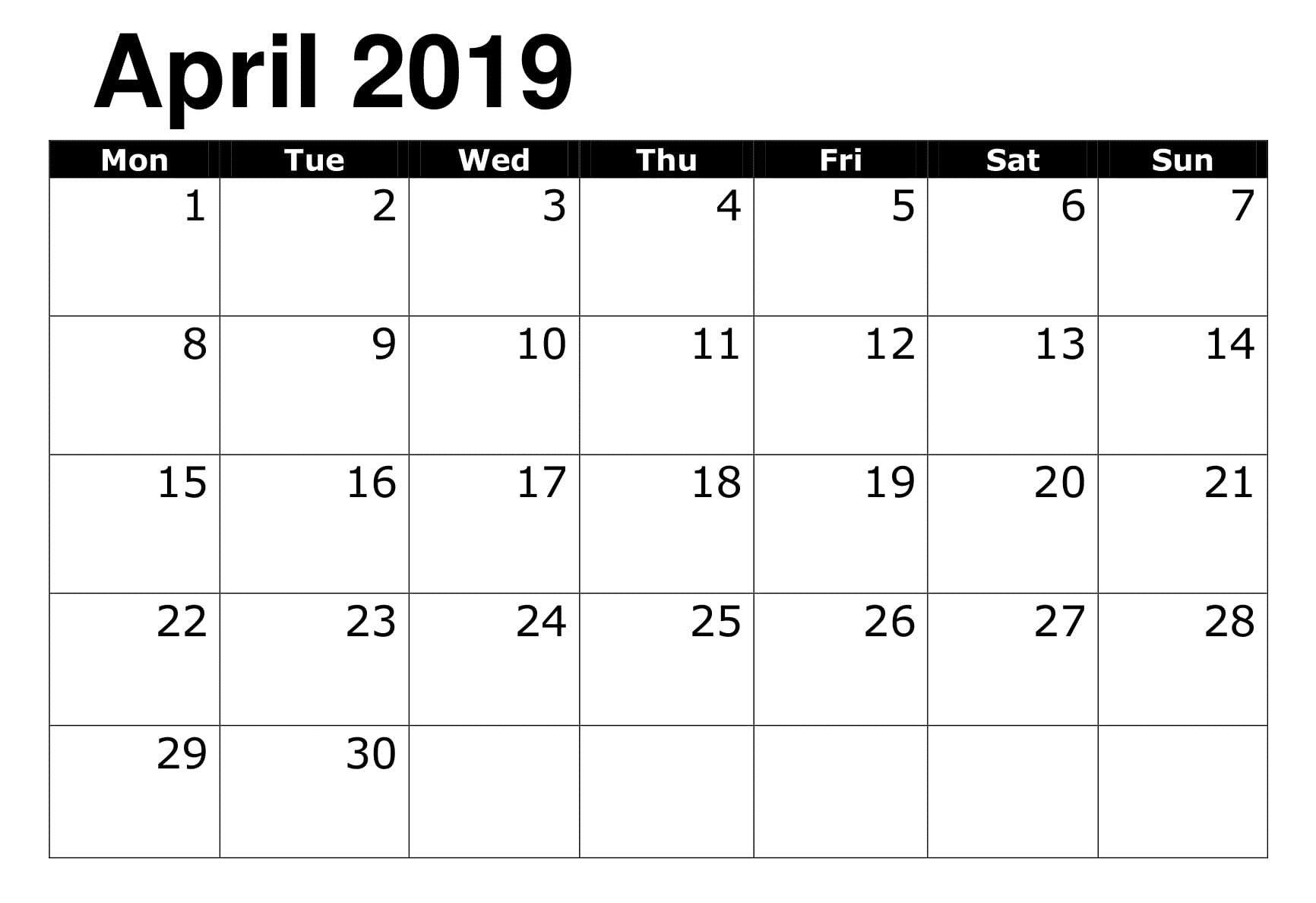Printable 2019 Calendar Editable April | 2019 Calendar with Google Calendar Printable Template