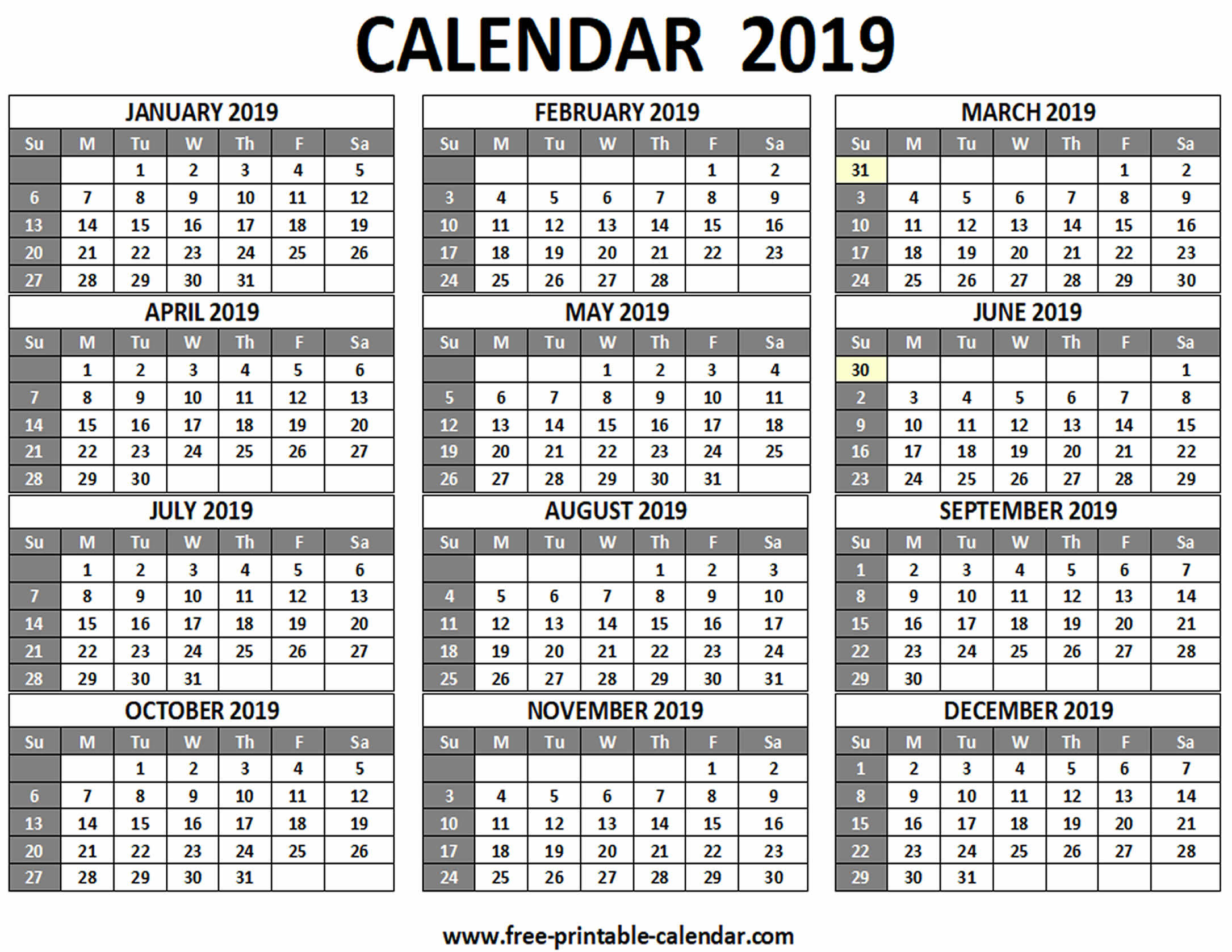 Printable 2019 Calendar  Freeprintablecalendar throughout Printable 12 Month Calendar On One Page
